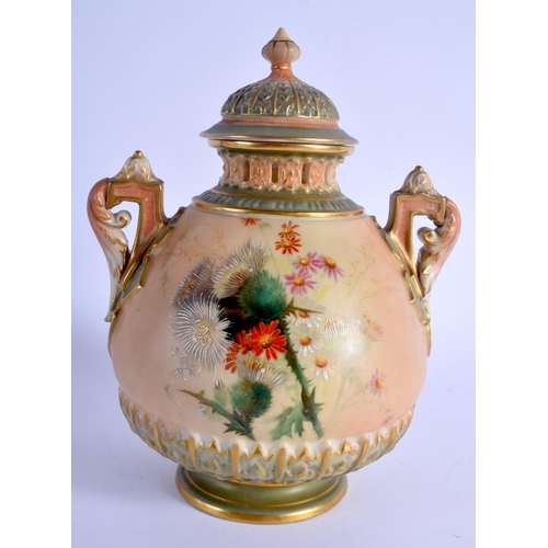144 - Royal Worcester two handled blush ivory vase and cover with green highlights painted with flowers sh...