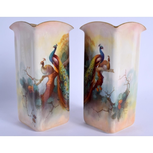 145 - Royal Worcester tall pair of vase of square section painted with peacocks by  Albert Shuck, signed, ...