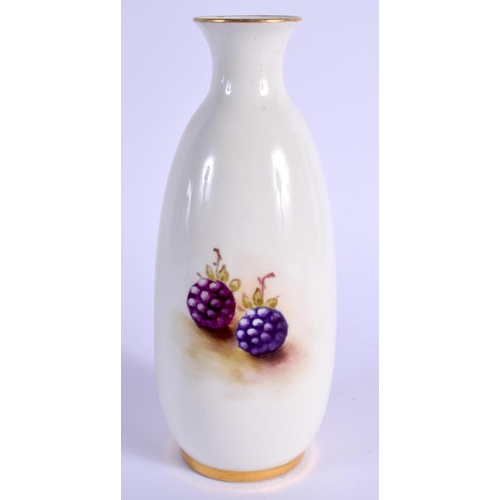 150 - Royal Worcester vase painted with fruit by Ayrton, signed, shape 2491, date code 1932. 14.5cm high...