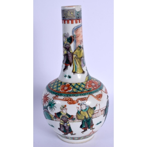 1500 - A 19TH CENTURY CHINESE FAMILLE VERTE PORCELAIN BULBOUS VASE Kangxi style, painted with figures withi...