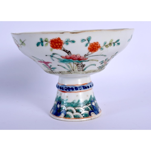 1501 - A 19TH CENTURY CHINESE FAMILLE ROSE PORCELAIN TAZZA Guangxu, painted with flowers. 10 cm x 13 cm....