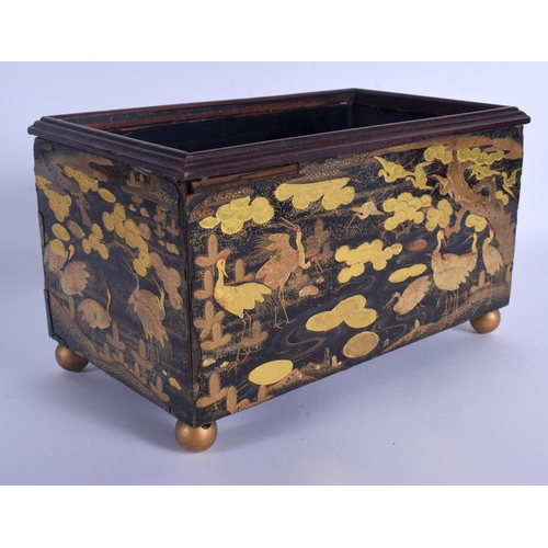 1505 - AN 18TH CENTURY JAPANESE EDO PERIOD BLACK LACQUER DESK CHEST CABINET decorated with gold foliage and...