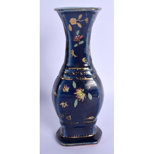 1510 - AN 18TH/19TH CENTURY CHINESE POWDER BLUE PORCELAIN VASE Qianlong/Jiaqing, enamelled with butterflies...