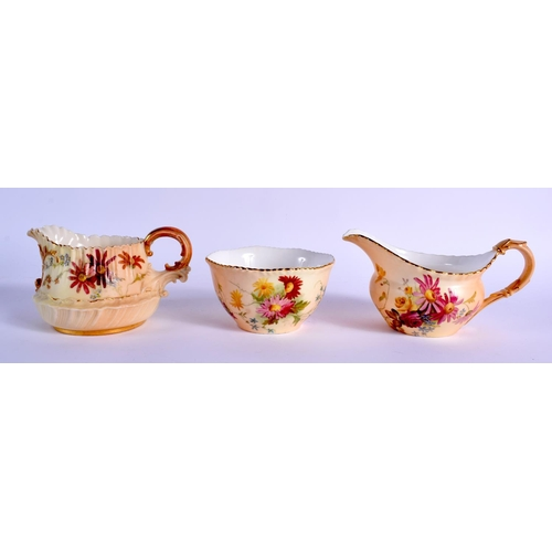 153 - Royal Worcester blush ivory cream jug and sugar bowl painted with flowers date code for 1899 and ano...