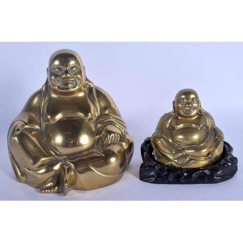 1535 - TWO EARLY 20TH CENTURY CHINESE POLISHED BRONZE BUDDHAS Qing. Largest 17 cm x 11 cm. (3)...