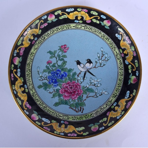 1541 - AN EARLY 20TH CENTURY CHINESE CANTON ENAMEL CIRCULAR DISH Late Qing, painted with magpie amongst fol...