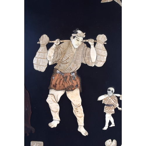 1572 - A LARGE PAIR OF 19TH CENTURY JAPANESE MEIJI PERIOD IVORY SHIBAYAMA PANELS decorated with figures, bi...