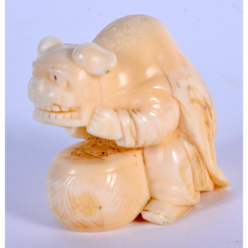 1584 - A 19TH CENTURY JAPANESE MEIJI PERIOD CARVED IVORY NETSUKE modelled as a male wearing a dog skin. 4 c...