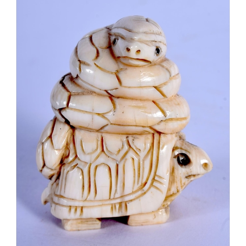 1590 - AN EARLY 20TH CENTURY JAPANESE MEIJI PERIOD CARVED IVORY NETSUKE formed as a tortoise and snake. 5 c...