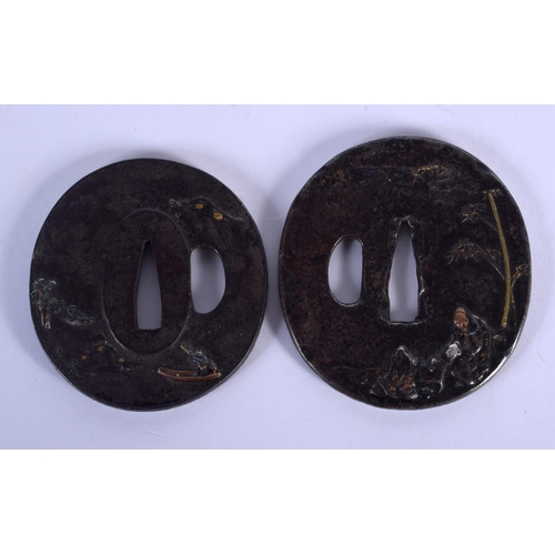 1593 - TWO 19TH CENTURY JAPANESE MEIJI PERIOD GOLD AND SILVER ONLAID TSUBA decorated with scholars within l...
