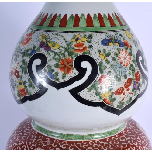 1602 - A LARGE LATE 19TH CENTURY JAPANESE MEIJI PERIOD TRIPLE GOURD VASE enamelled with floral sprays and t...