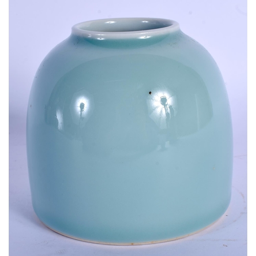 1603 - A CHINESE SKY BLUE GLAZED PORCELAIN BRUSH WASHER 20th Century. 8 cm x 8 cm....