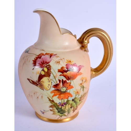 164 - Royal Worcester unusual flat back jug painted with wild flowers in the manner of Edward Raby date co...