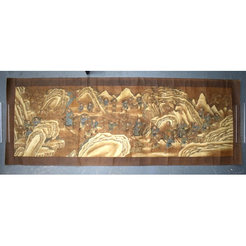 1654 - A LARGE 18TH CENTURY CHINESE PAINTED SCROLL Qing, painted with scholars in various pursuits. Image 1...
