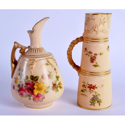 166 - Royal Worcester blush ivory miniature claret jug  painted with flowers,  shape 1047, date code 1904 ...