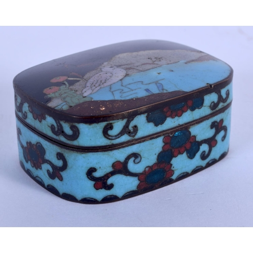 1672 - A LATE 19TH CENTURY JAPANESE MEIJI PERIOD CLOISONNE ENAMEL BOX AND COVER decorated with a bird. 5.5 ...