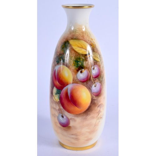 168 - Royal Worcester vase painted with fruit by Roberts shape 2491, black mark. 14.5cm high....