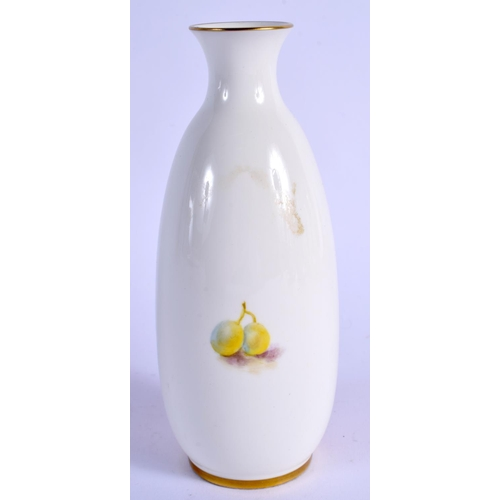 169 - Royal Worcester vase painted with fruit by P. Stanley shape 2491/2, black mark. 14cm high....