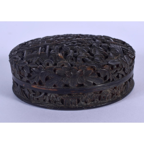 1695 - A 19TH CENTURY CHINESE CANTON CARVED TORTOISESHELL BOX AND COVER Qing, decorated with figures and la...