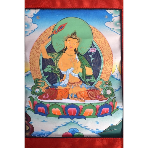 1697 - A PAIR OF EARLY 20TH CENTURY SINO TIBETAN THANGKA together with four scrolls. (6)...