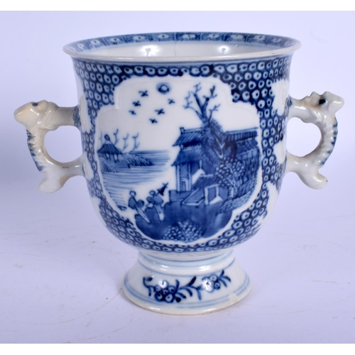 1700 - AN 18TH CENTURY CHINESE EXPORT BLUE AND WHITE CHOCOLATE CUP Qianlong. 10 cm wide....