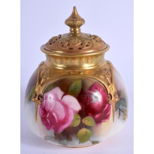 171 - Royal Worcester moulded pot pourri and cover painted with Hadley style roses, shape H176, date code ...