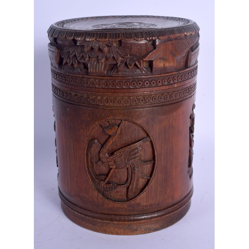 1713 - A LATE 19TH CENTURY JAPANESE MEIJI PERIOD CARVED BAMBOO BOX AND COVER Late Qing. 16 cm x 9 cm....