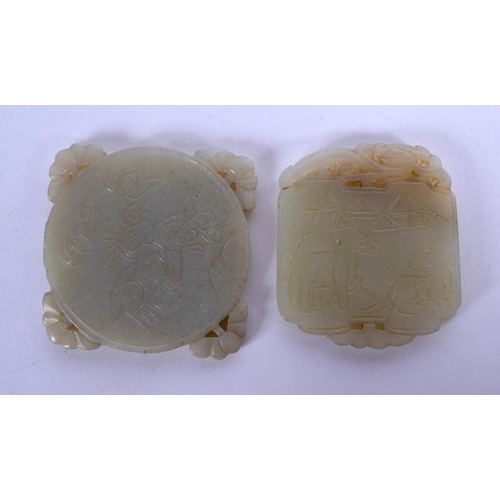1716 - TWO EARLY 20TH CENTURY CHINESE CARVED JADE PLAQUES Late Qing. 5 cm diameter. (2)...