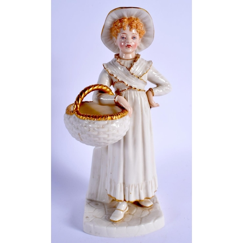 172 - Royal Worcester Hadley figure of a with brimmed hat carrying a basket, shape 803, date code 1888. 22...