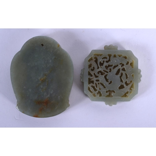 1721 - TWO EARLY 20TH CENTURY CHINESE CARVED JADE PLAQUES Late Qing. 5 cm diameter. (2)...