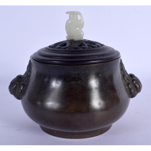 1740 - A 19TH CENTURY CHINESE BRONZE CENSER Qing, with jade and hardwood lid. 15 cm wide, internal width 9 ...