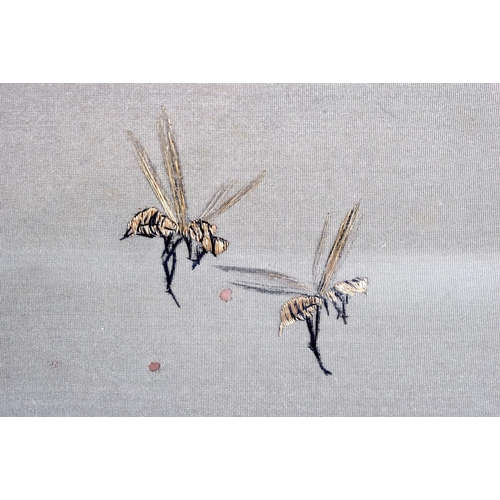 1747 - A FINE 19TH CENTURY JAPANESE MEIJI PERIOD SILK EMBROIDERY OF MONKEYS in the manner of Kawanabe Kyosa...