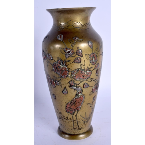 1750 - A 19TH CENTURY JAPANESE MEIJI PERIOD BRONZE AND COPPER VASE decorated with birds. 19 cm high....