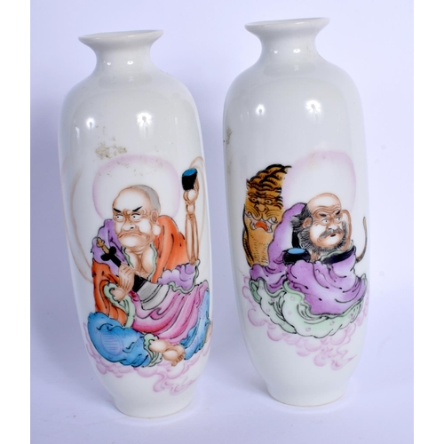 1767 - A PAIR OF CHINESE PORCELAIN SCHOLAR VASES 20th Century. 15 cm high....
