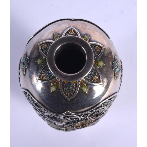 1768 - A MAJESTIC 19TH CENTURY JAPANESE MEIJI PERIOD SILVER AND ENAMEL RETICULATED VASE decorated with open...