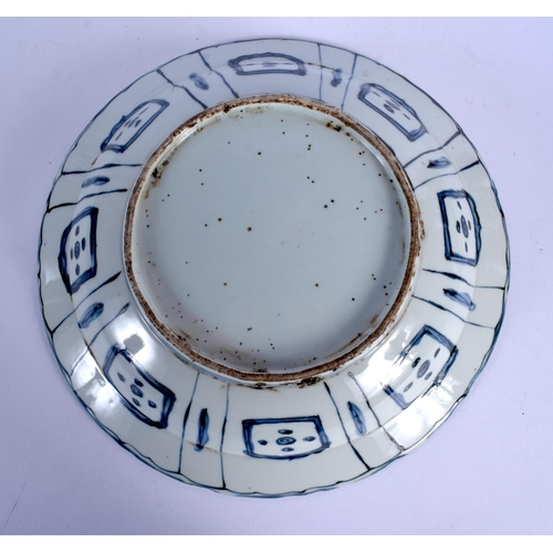 1771 - A 19TH CENTURY CHINESE BLUE AND WHITE KRAAK DISH painted with ducks in a landscape. 38 cm diameter....
