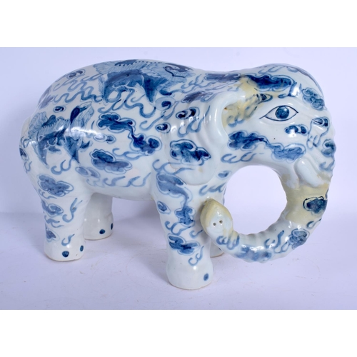 1776 - AN EXTREMELY RARE 19TH CENTURY JAPANESE MEIJI PERIOD PORCELAIN ELEPHANT painted with buddhistic lion...