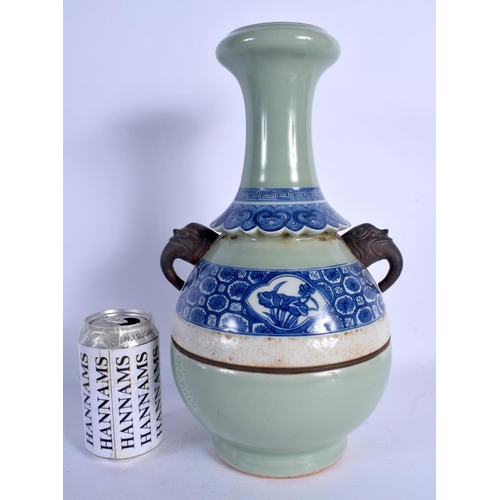 1782 - A 19TH CENTURY CHINESE BLUE AND WHITE CELADON TRI COLOUR VASE Qing. 35 cm high....