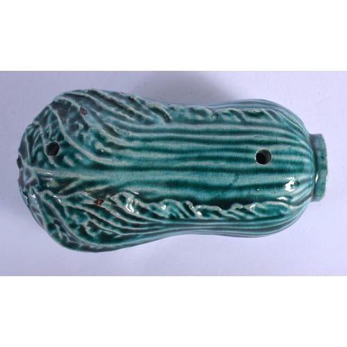 1784 - A 19TH CENTURY TURQUOISE GLAZED WATER DROPPER of gourd form. 11 cm x 5 cm....