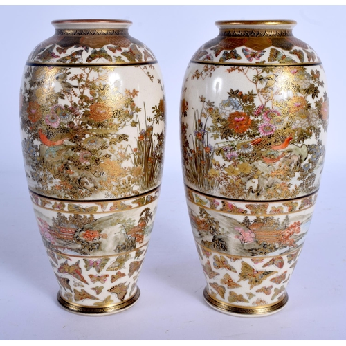 1804 - A GOOD PAIR OF 19TH CENTURY JAPANESE MEIJI PERIOD SATSUMA VASES painted with foliage, butterflies an...