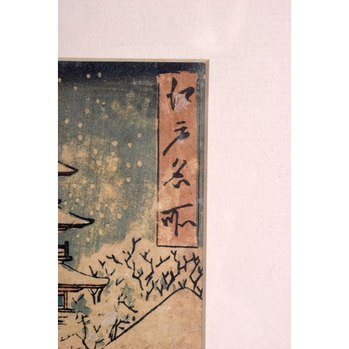 1814 - A 19TH CENTURY JAPANESE MEIJI PERIOD WOODBLOCK PRINT depicting a snowy landscape. Image 35 cm x 20 c...