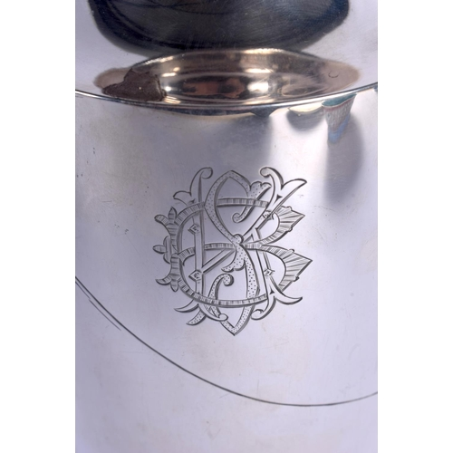 1828 - A GOOD EARLY 20TH CENTURY JAPANESE MEIJI PERIOD SILVER VASE decorated with Mt Fuji and calligraphy. ...