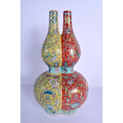 1831 - A LARGE CHINESE TWIN FORM PORCELAIN VASE 20th Century, painted with foliage. 36 cm high....