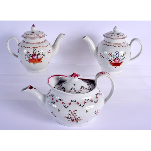 185 - Early 19th c.  New Hall helmet shaped teapot and cover painted with flowers pattern 191, an English ...