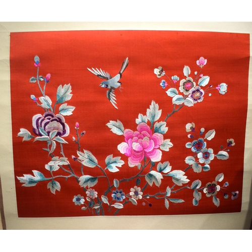 1861 - THREE LATE 19TH CENTURY CHINESE SILK EMBROIDERED SCROLLS decorated with birds and foliage, and a Jap...