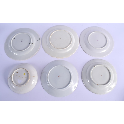 187 - Chelsea Derby six plates or dishes. 24.5cm wide....