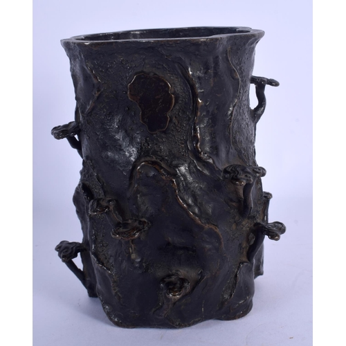 1870 - A 19TH CENTURY JAPANESE MEIJI PERIOD BRONZE BRUSH POT overlaid in lingzhi fungus. 13 cm high....