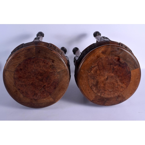 1874 - A PAIR OF 19TH CENTURY CHINESE CARVED HONGMU AND BURLWOOD STANDS Qing, upon foliate capped feet. 47 ...