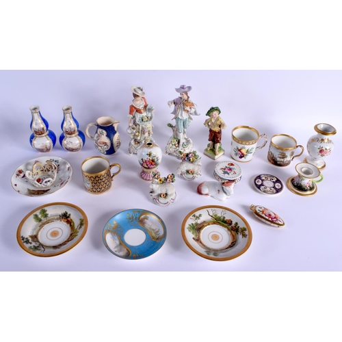 188 - 18th and 19th c. Continental porcelain 20+ pieces vases, cups and saucers, figures. 19.5cm high....