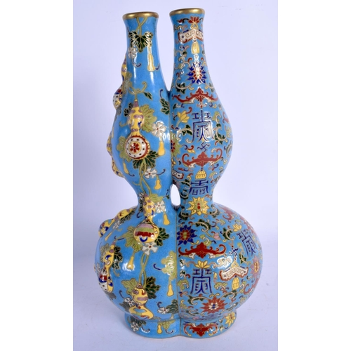1891 - A RARE CHINESE IMITATION CLOISONNE CONJOINED VASE 20th Century, painted with motifs. 30 cm x 15 cm....